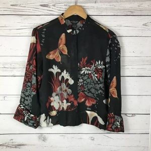 Citron Womens Black Floral Rayon Bamboo 3/4 sleeve